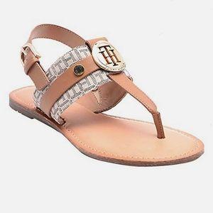 Tommy Hilfiger Tan Flat Sandals size 8 5